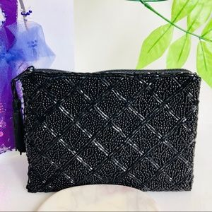 Handbags - Beautifully Beaded Black mini clutch